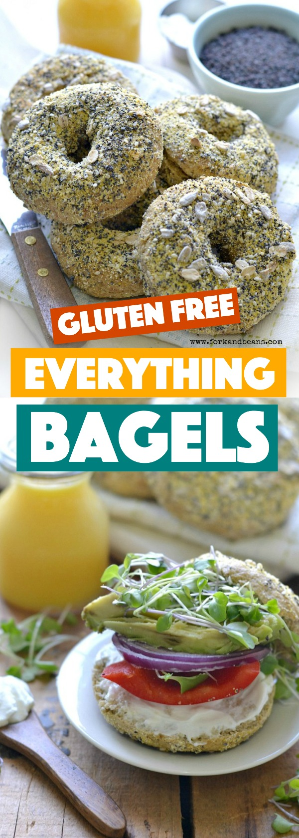 With a crunchy exterior and a soft interior, these gluten free vegan everything bagels will brighten anyone's morning. Just toast and then slather with cream cheese!