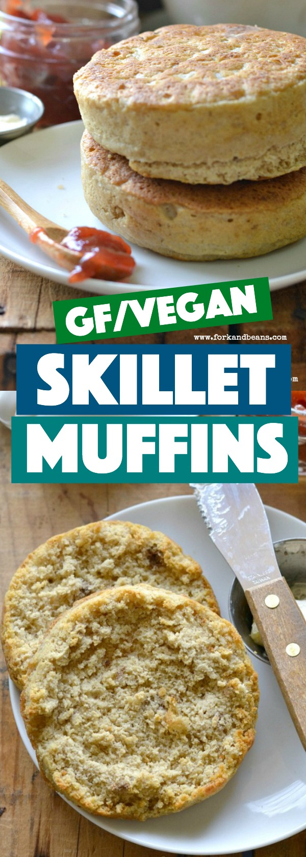 Just like toasty English muffins, these gluten free vegan Yeasted Skillet Muffins make a great breakfast option that can easily be whipped up on the stove.