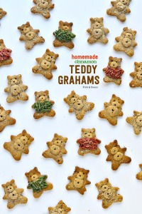 Grain-Free Cinnamon Teddy Grahams with fuzzy sweaters made from homemade (healthier) sprinkles.