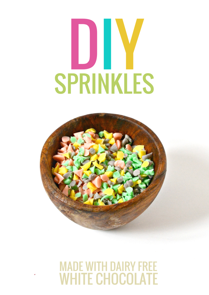 DIY Sprinkles made with nondairy white chocolate and all-natural food coloring.