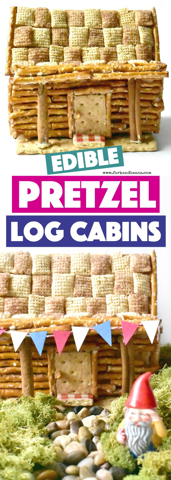 Memorialize this summer by making your own Edible Pretzel Log Cabin, created with pretzels and cereal!