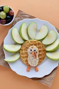 Start your Thanksgiving off in a healthy way with this Thanksgiving Turkey Breakfast made with waffles and fresh apples.