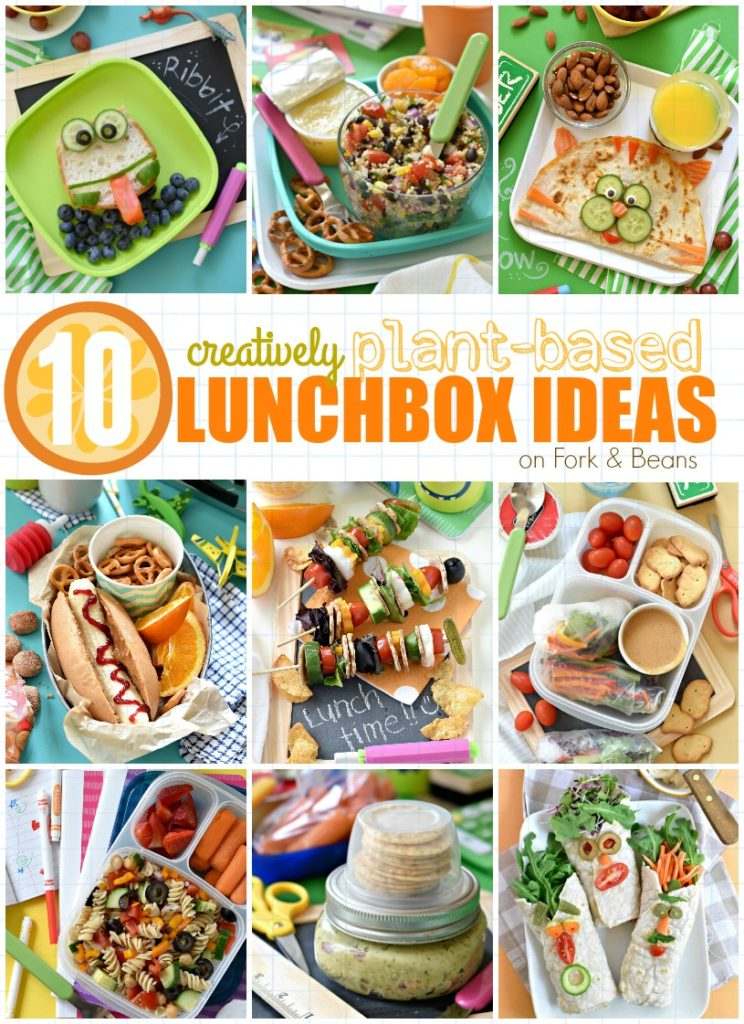 Put a smile on your kid's face while you think outside of the lunchbox with these 10 Creative Plant Based Lunchbox Ideas!
