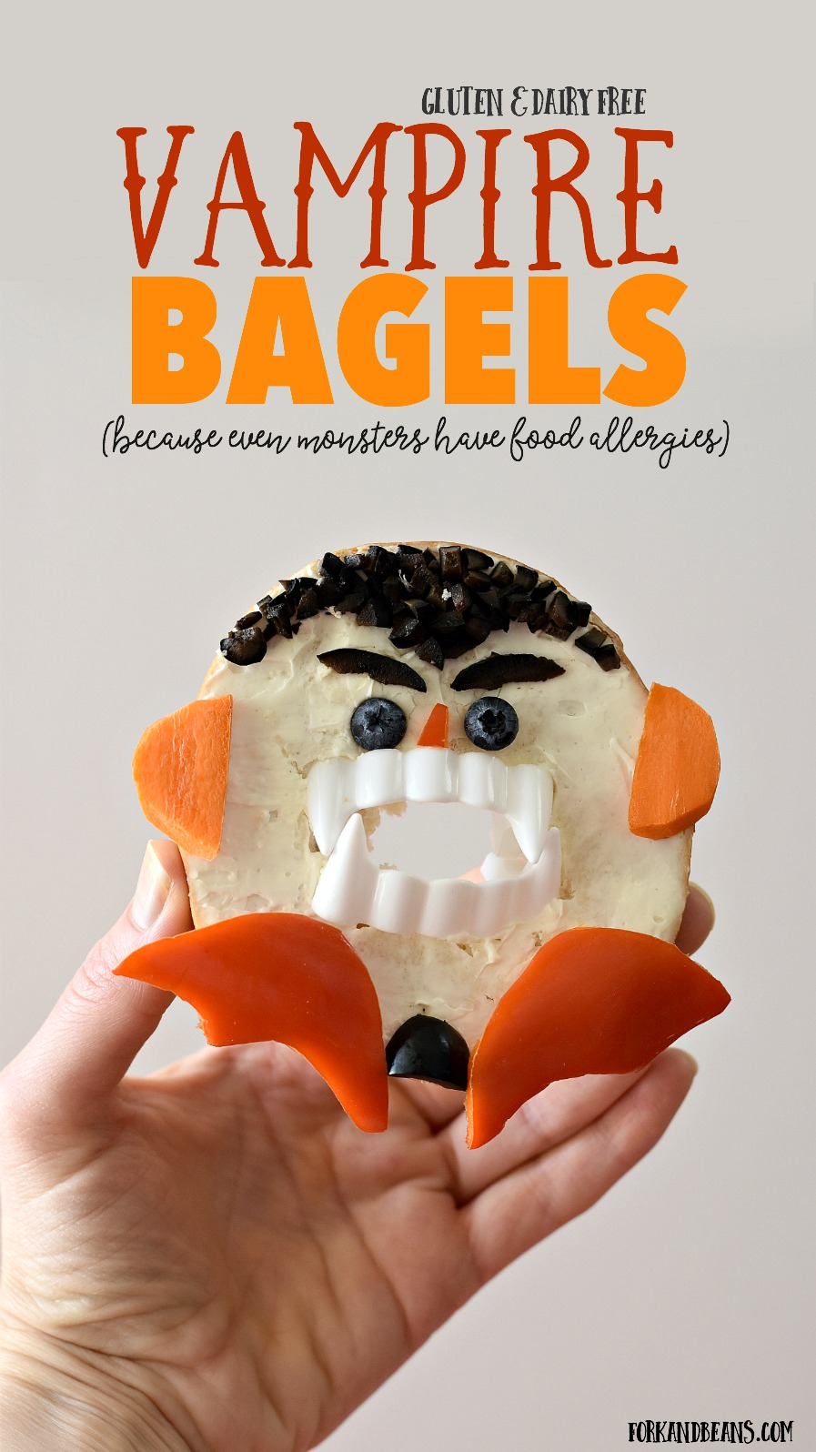 Turn an ordinary breakfast food into allergen-friendly Vampire Bagels this Halloween. Your kids will beg for a BITE over and over again!