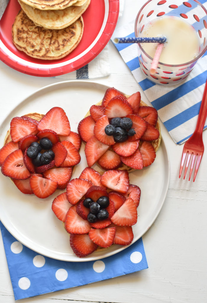 Add sliced strawberries to your favorite breakfast meal to create these patriotic Pancake Fireworks!