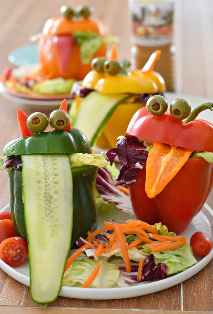 Stuff lettuce into these Monster Bell Pepper Salad Cups for a fun and edible way to serve up veggies for dinner #kidfood #foodforkids
