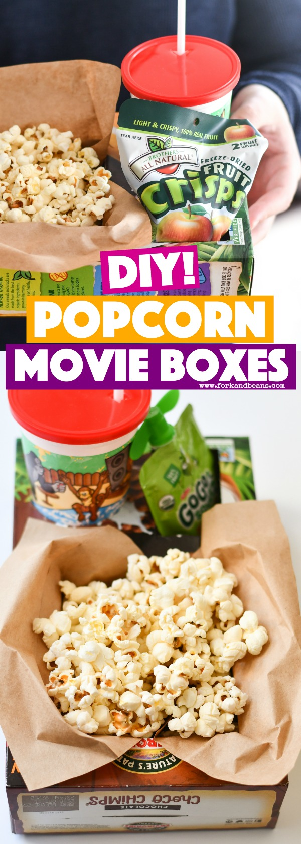 A cereal box turned into a popcorn container with a cup and snack holder