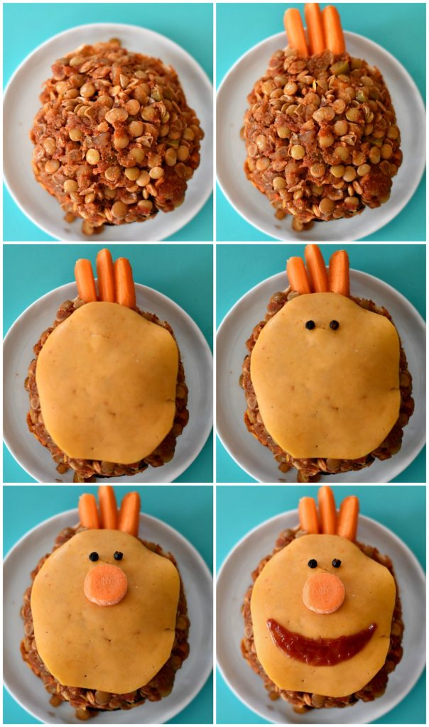 A photo tutorial of how to build Lentil Sloppy Joes in the shape of Tobee from Super Simple Songs.